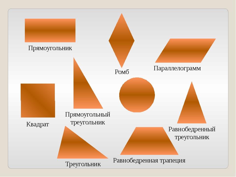Прямоугольник Квадрат Треугольник Равнобедренная трапеция Ромб Параллелограм...