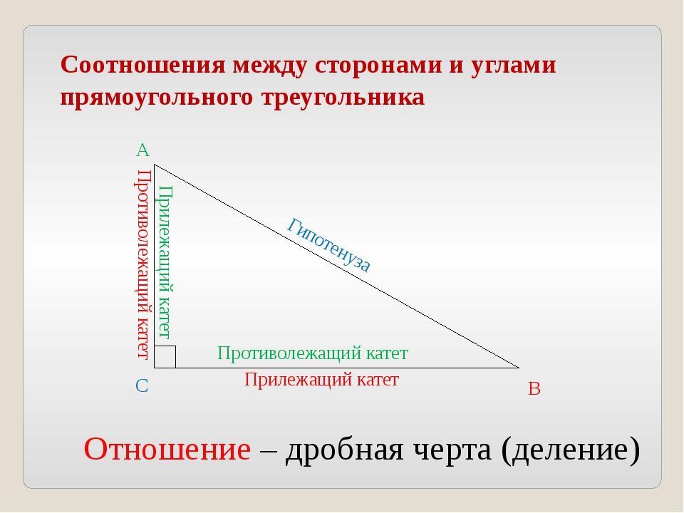 Соотношения между сторонами и углами прямоугольного треугольника Прилежащий к...