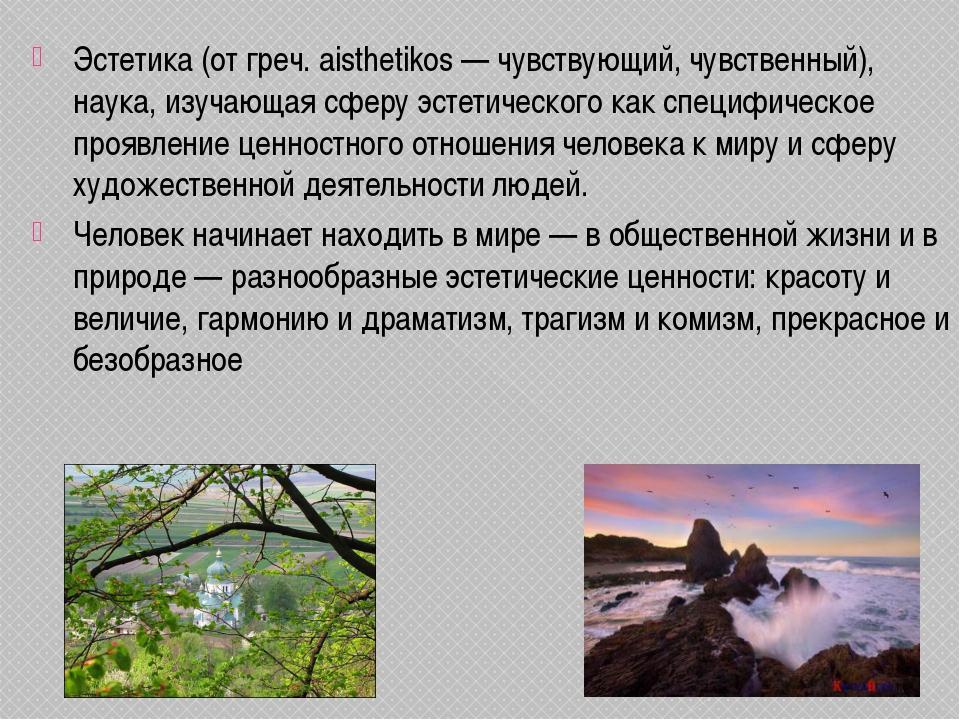 Эстетика (от греч. aisthetikos — чувствующий, чувственный), наука, изучающая...