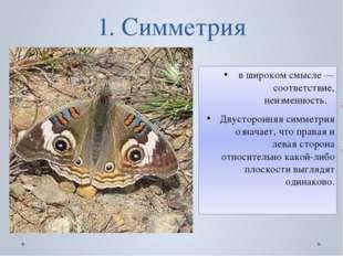 1. Симметрия в широком смысле — соответствие, неизменность. Двусторонняя симм