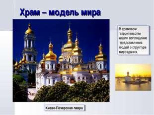 Храм – модель мира Киево-Печерская лавра В храмовом строительстве нашли вопло