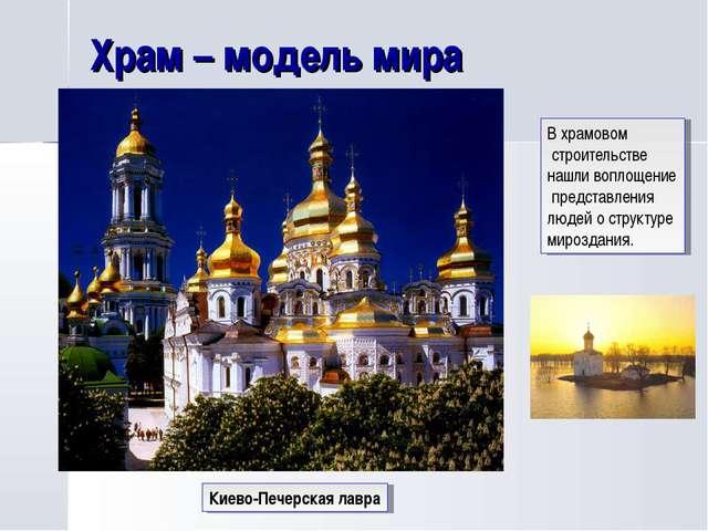 Храм – модель мира Киево-Печерская лавра В храмовом строительстве нашли вопло...