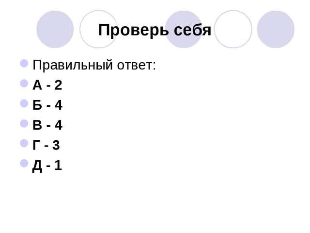 Проверь себя Правильный ответ: А - 2 Б - 4 В - 4 Г - 3 Д - 1