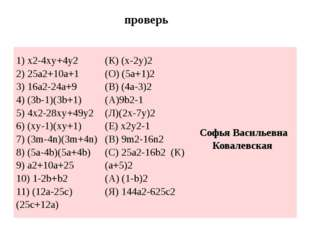 проверь 1) x2-4xy+4y2 2) 25a2+10a+1 3) 16a2-24a+9 4) (3b-1)(3b+1) 5) 4x2-28x