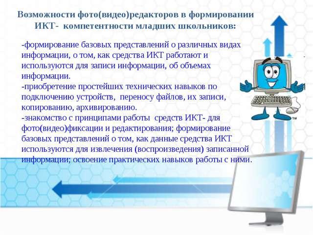 Возможности фото(видео)редакторов в формировании ИКТ- компетентности младших...