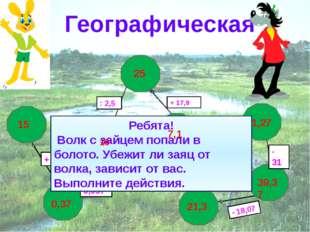 Географическая Ребята! Волк с зайцем попали в болото. Убежит ли заяц от волк
