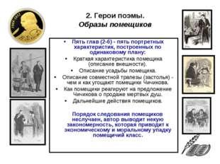 Пять глав (2-6) - пять портретных характеристик, построенных по одинаковому