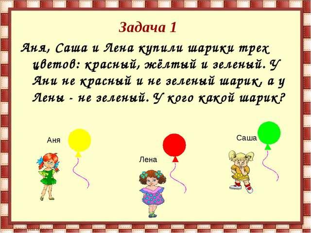 Задача 1 Аня, Саша и Лена купили шарики трех цветов: красный, жёлтый и зелены...