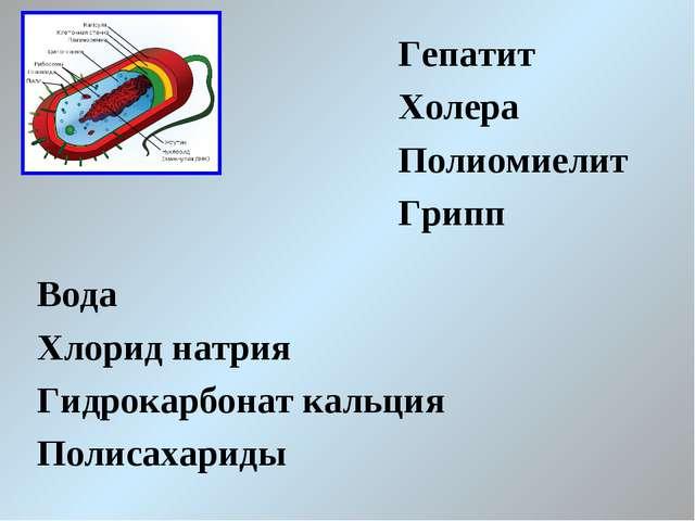 Гепатит Холера Полиомиелит Грипп Вода Хлорид натрия Гидрокарбонат кальция Пол...