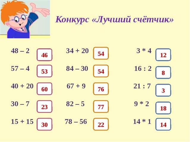 Конкурс «Лучший счётчик» 48 – 2 34 + 20 3 * 4 57 – 4 84 – 30 16 : 2 40 + 20 6...