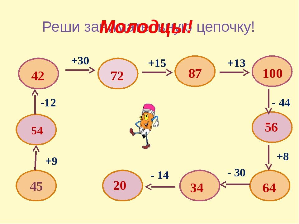 Реши занимательную цепочку! 45 +9 54 -12 42 +30 72 +15 87 +13 100 - 44 56 +8...