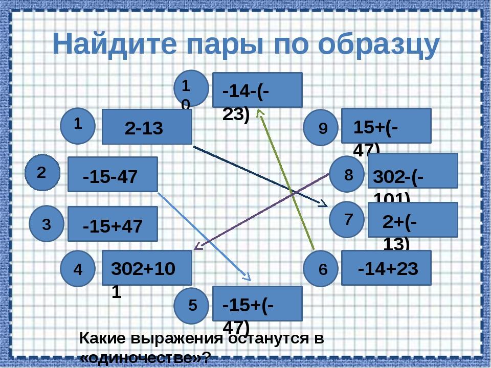Найдите пары по образцу 10 9 6 302+101 Какие выражения останутся в «одиночест...