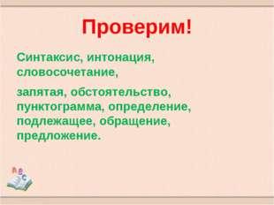 Проверим! Синтаксис, интонация, словосочетание, запятая, обстоятельство, пунк