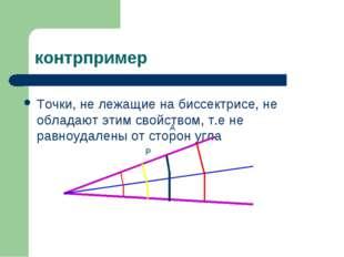 контрпример Точки, не лежащие на биссектрисе, не обладают этим свойством, т.е