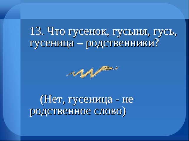 13. Что гусенок, гусыня, гусь, гусеница – родственники?  (Нет, гусеница -...