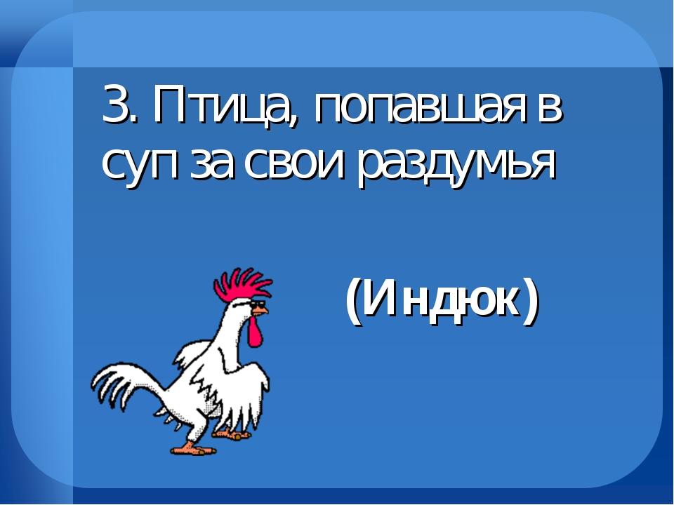 3. Птица, попавшая в суп за свои раздумья (Индюк)