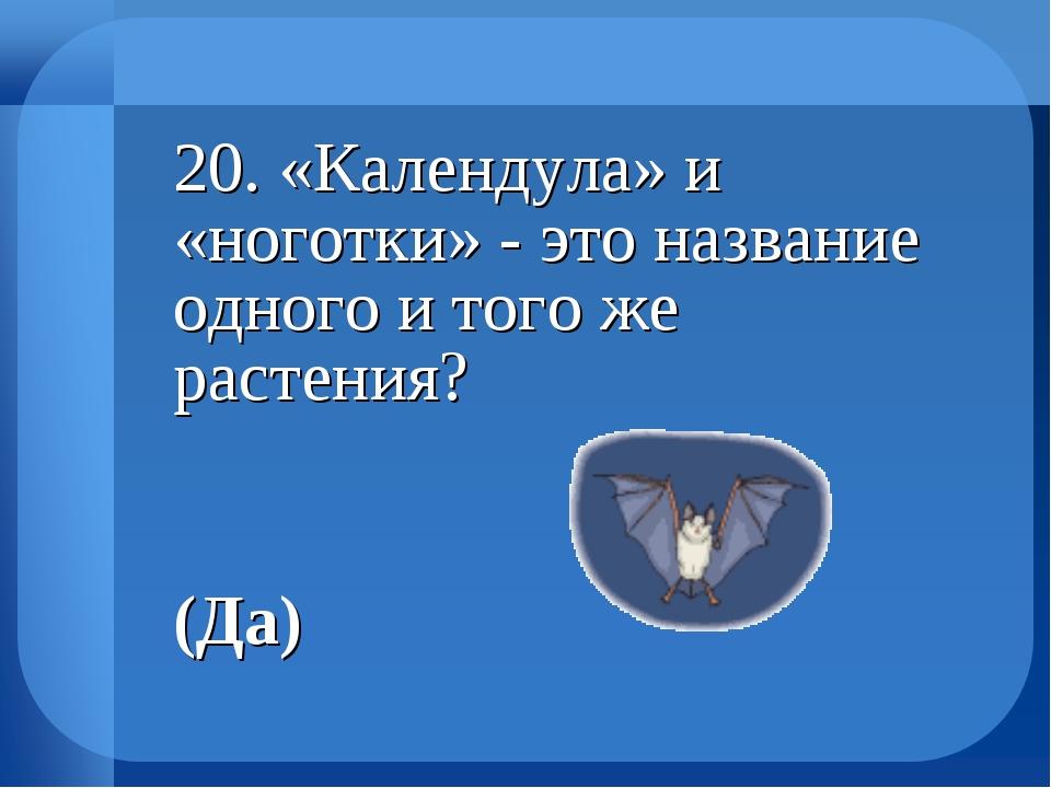 20. «Календула» и «ноготки» - это название одного и того же растения?...
