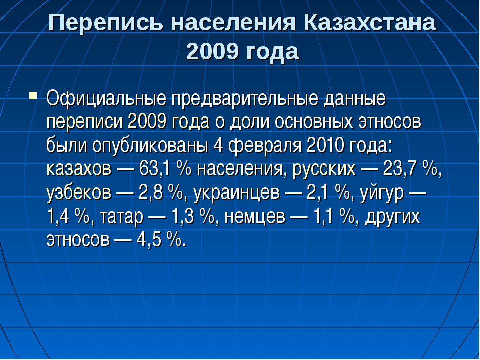Перепись населения Казахстана 2009 года Официальные предварительные данные пе...