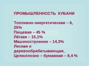 ПРОМЫШЛЕННОСТЬ КУБАНИ Топливно-энергетическая – 6, 25% Пищевая – 45 % Лёгкая