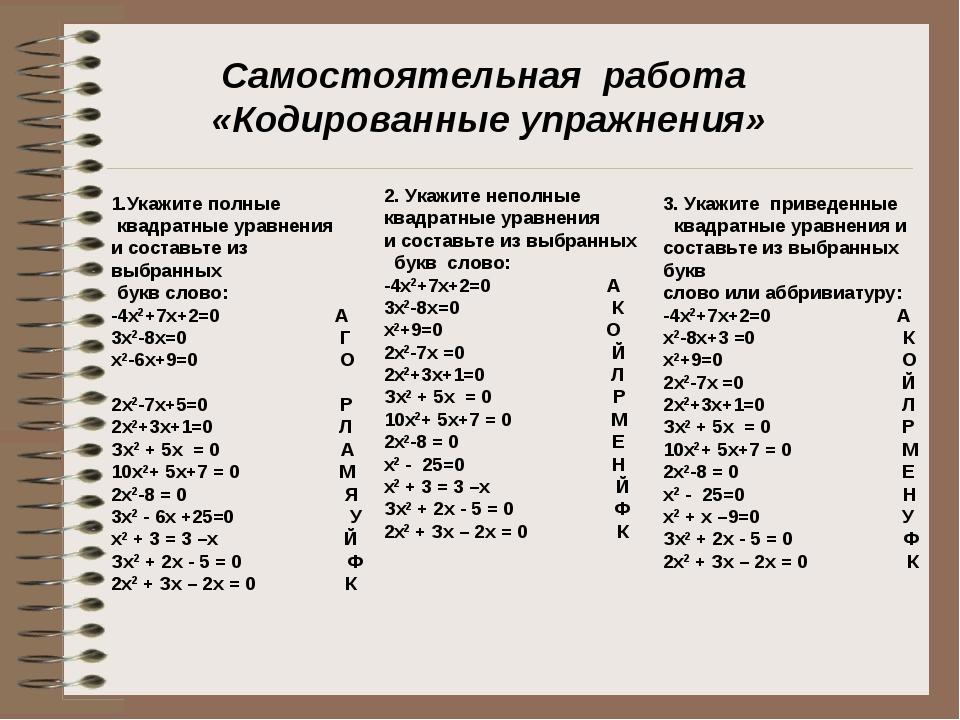 Самостоятельная работа «Кодированные упражнения» 1.Укажите полные квадратные...