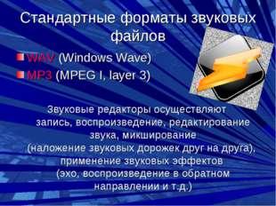 Стандартные форматы звуковых файлов WAV (Windows Wave) MP3 (MPEG I, layer 3)
