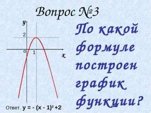 Вопрос № 3 1 2 у х о По какой формуле построен график функции? Ответ. у = -