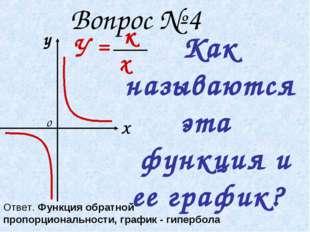 Вопрос № 4 Как называются эта функция и ее график? у Х о У = к х Ответ. Функ