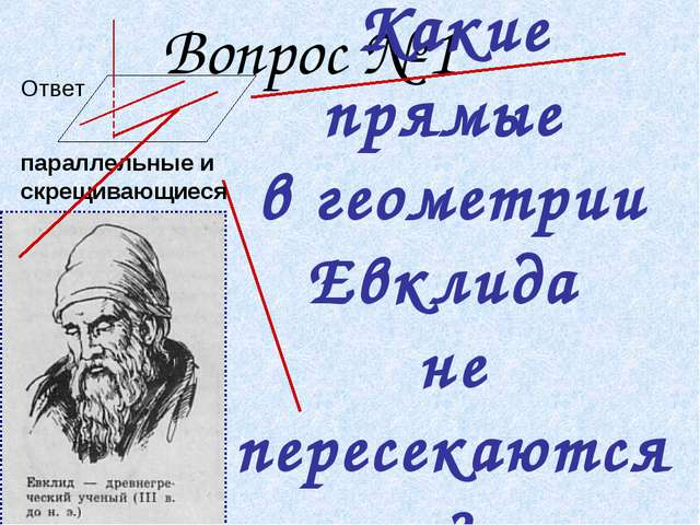 Вопрос № 1 Какие прямые в геометрии Евклида не пересекаются? Ответ параллель...