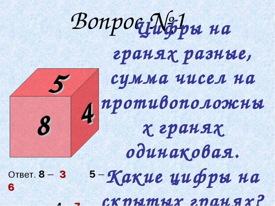 Вопрос № 1 Цифры на гранях разные, сумма чисел на противоположных гранях оди...