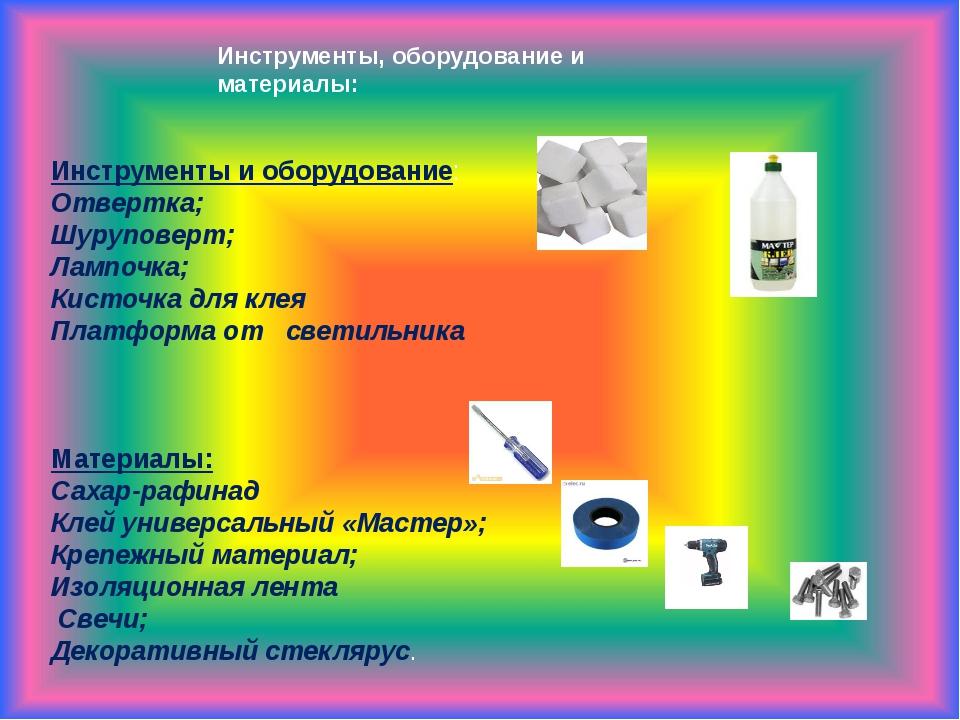 Инструменты, оборудование и материалы: Инструменты и оборудование: Отвертка;...