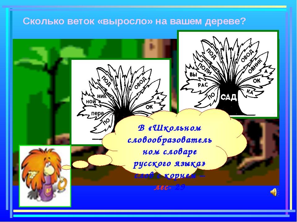 Сколько веток «выросло» на вашем дереве? В «Школьном словообразовательном сл...