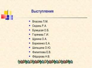Выступления Власова Л.М. Седень Р.А. Бузецкая О.Б. Горячева Г.И. Щукина О.А.