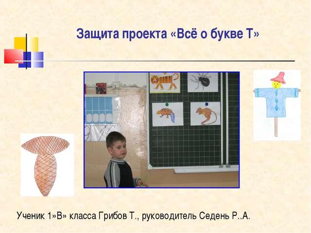 Защита проекта «Всё о букве Т» Ученик 1»В» класса Грибов Т., руководитель Сед...
