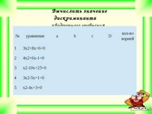 Вычислить значение дискриминанта квадратного уравнения. № уравнение а b с D