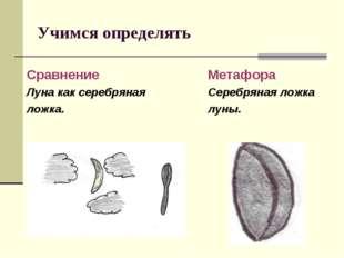 Учимся определять Сравнение Луна как серебряная ложка. Метафора Серебряная ло