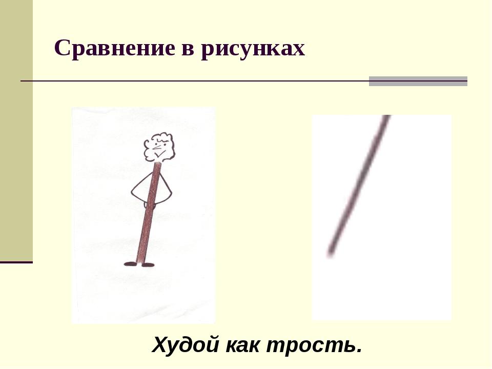 Сравнение в рисунках Худой как трость.