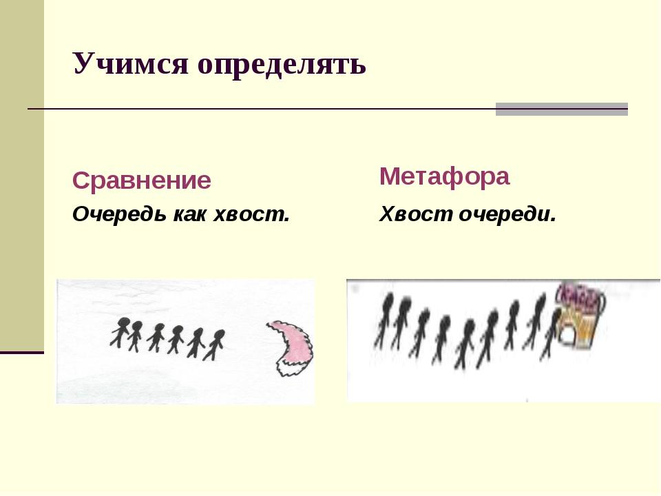 Учимся определять Сравнение Очередь как хвост. Метафора Хвост очереди.
