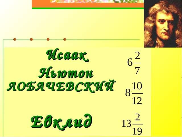Исаак Ньютон  ЛОБАЧЕВСКИЙ Евклид
