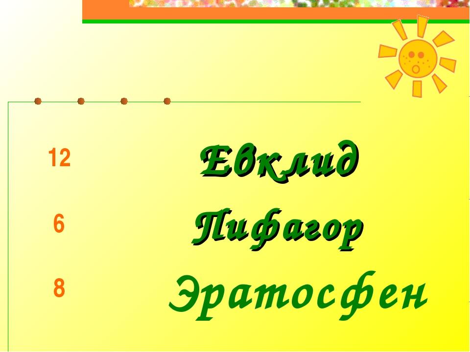 Эратосфен 12Евклид 6Пифагор 8