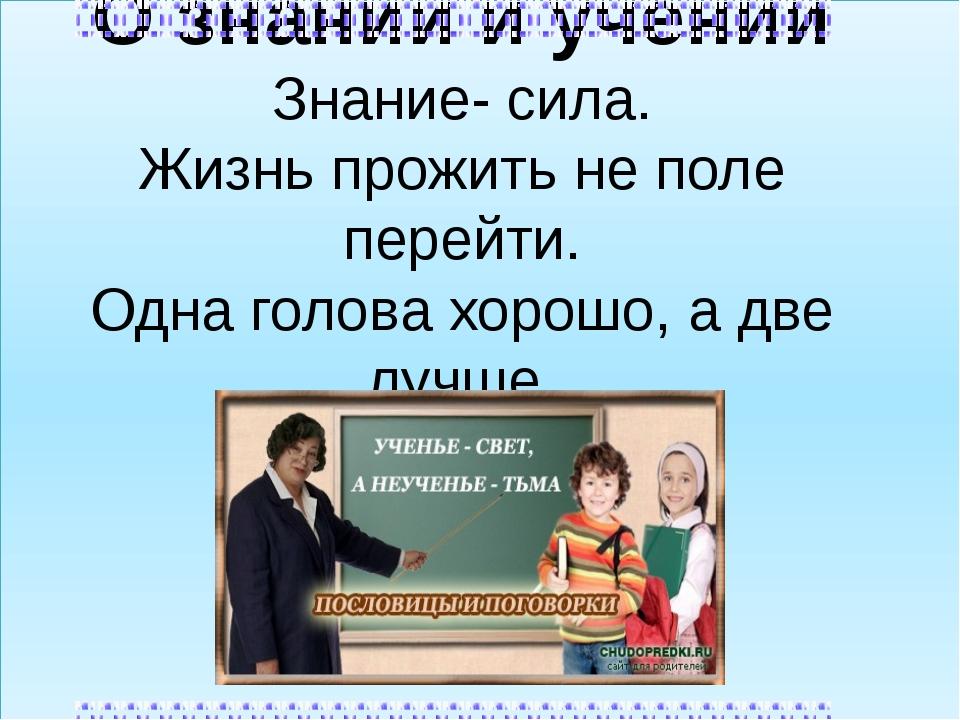 О знании и учении Знание- сила. Жизнь прожить не поле перейти. Одна голова х...