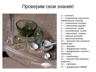 Проверим свои знания! 1— пипетка; 2 — стеклянная пластинка (предметное стекло