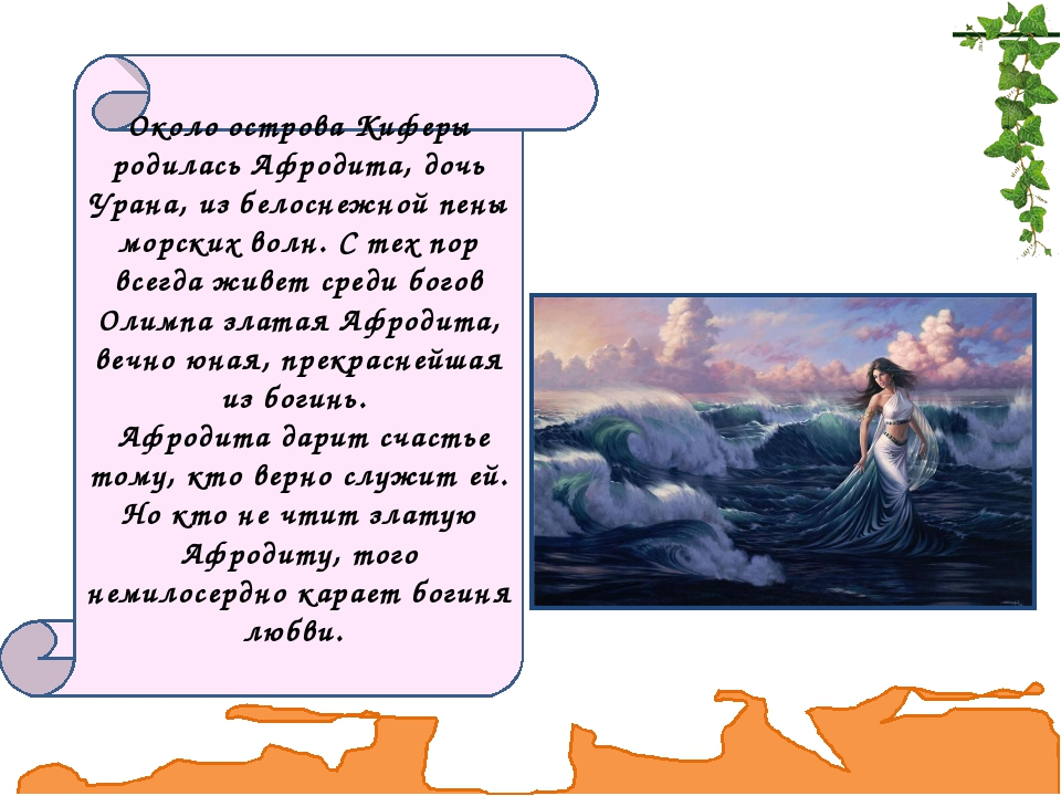 Около острова Киферы родилась Афродита, дочь Урана, из белоснежной пены морск...