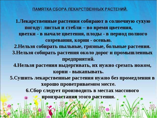 ПАМЯТКА СБОРА ЛЕКАРСТВЕННЫХ РАСТЕНИЙ. 1.Лекарственные растения собирают в сол...