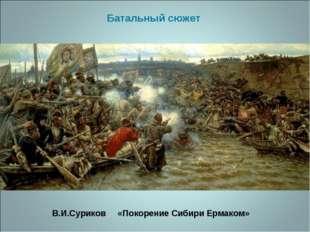 В.И.Суриков «Покорение Сибири Ермаком» Батальный сюжет