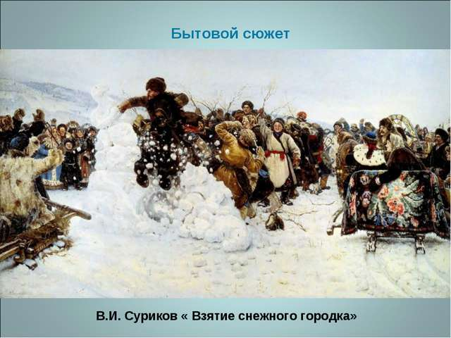 В.И. Суриков « Взятие снежного городка» Бытовой сюжет