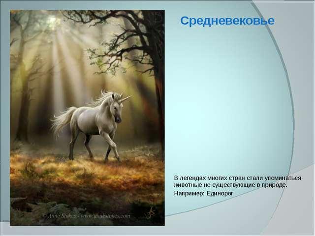 В легендах многих стран стали упоминаться животные не существующие в природе....