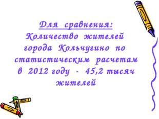 Для сравнения: Количество жителей города Кольчугино по статистическим расчета