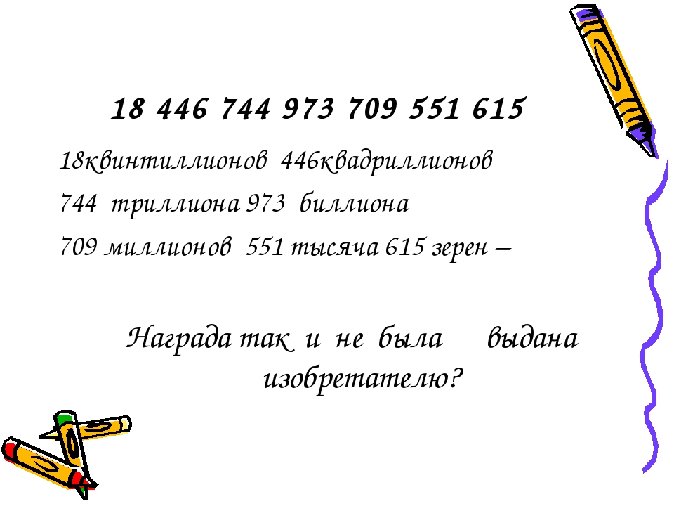 18 446 744 973 709 551 615 18квинтиллионов 446квадриллионов 744 триллиона 973...