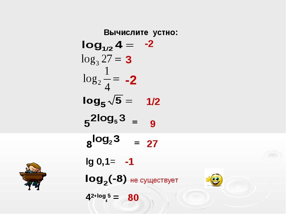 Вычислите устно: -2 = 1/2 9 27 lg 0,1= -1 не существует 42+log45 = 80 3 -2