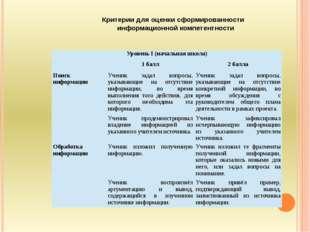 Критерии для оценки сформированности информационной компетентности  Уровень